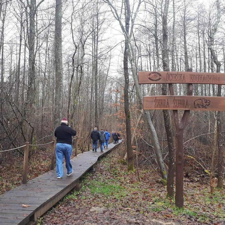 Ścieżka edukacyjna w lesie i ludzie